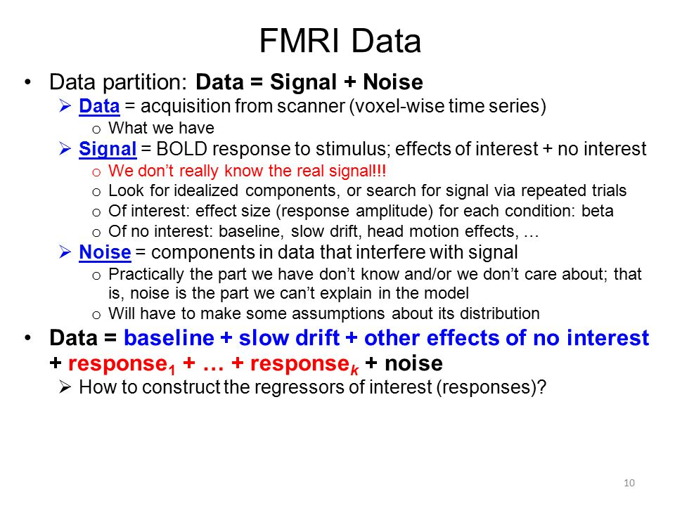 FMRI Data Data partition: Data = Signal + Noise
