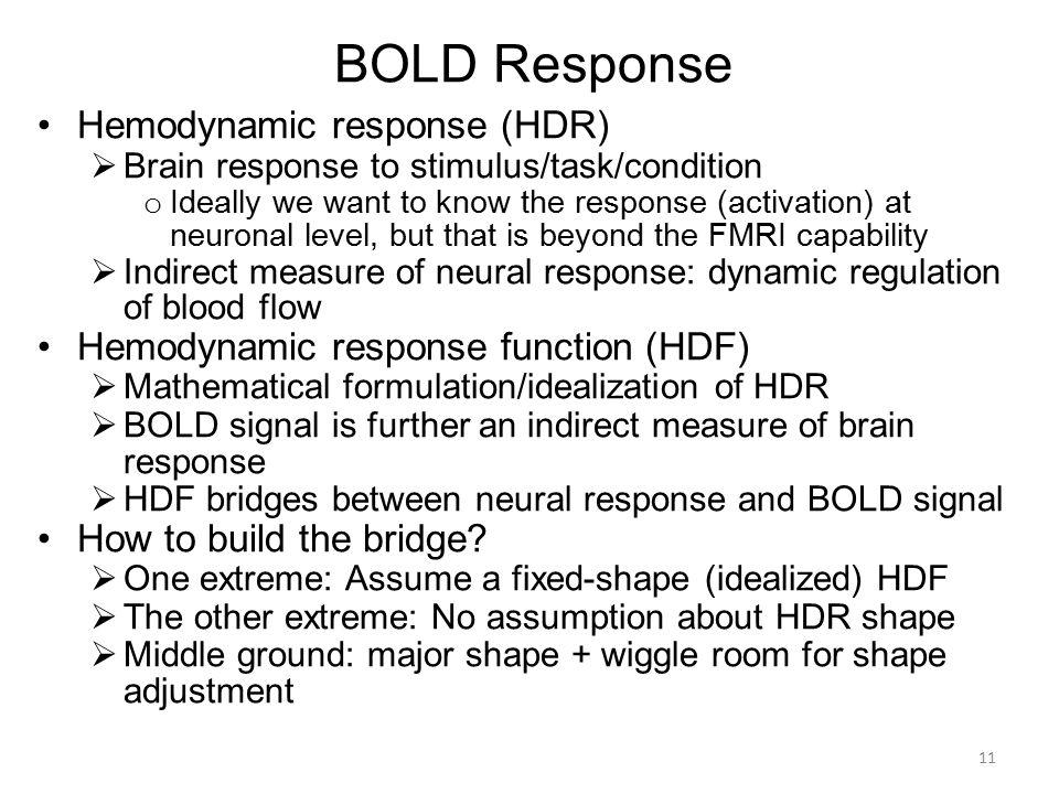 BOLD Response Hemodynamic response (HDR)