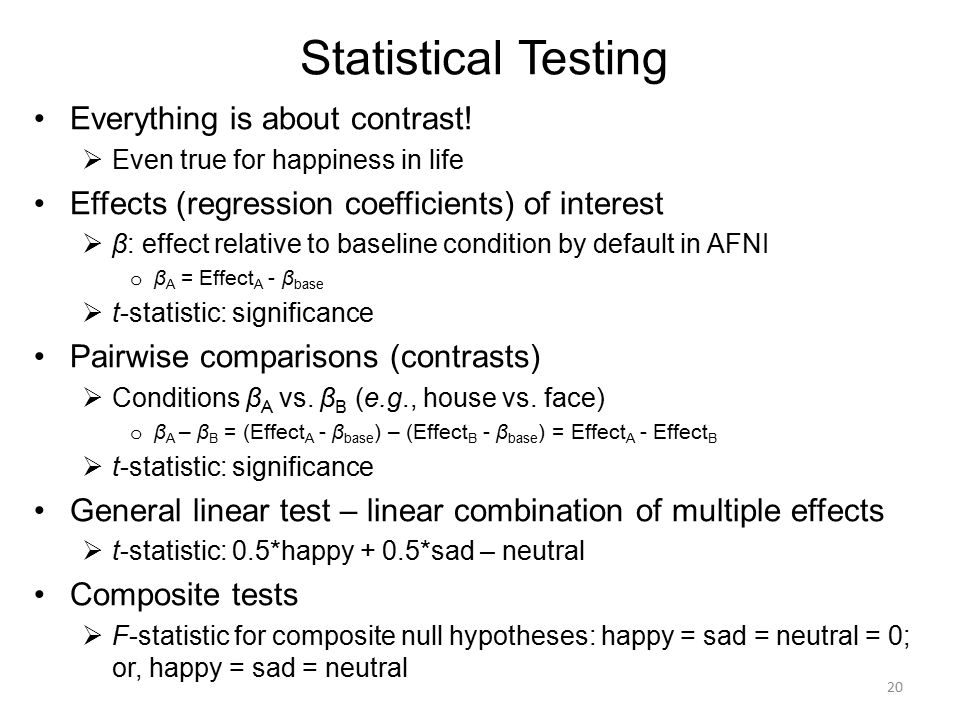 Statistical Testing Everything is about contrast!