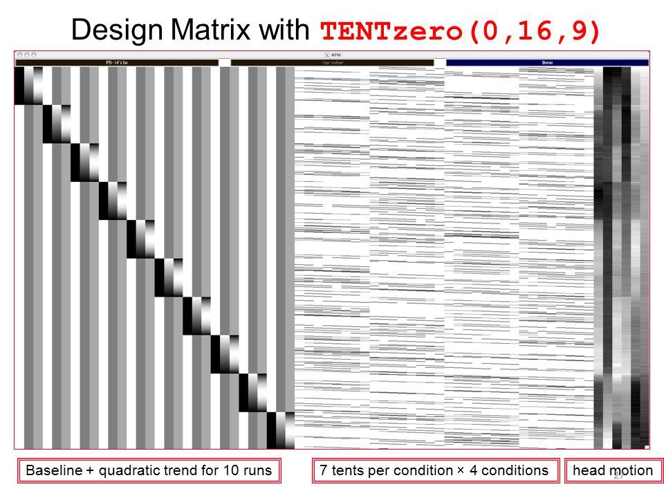 Design Matrix with TENTzero(0,16,9)