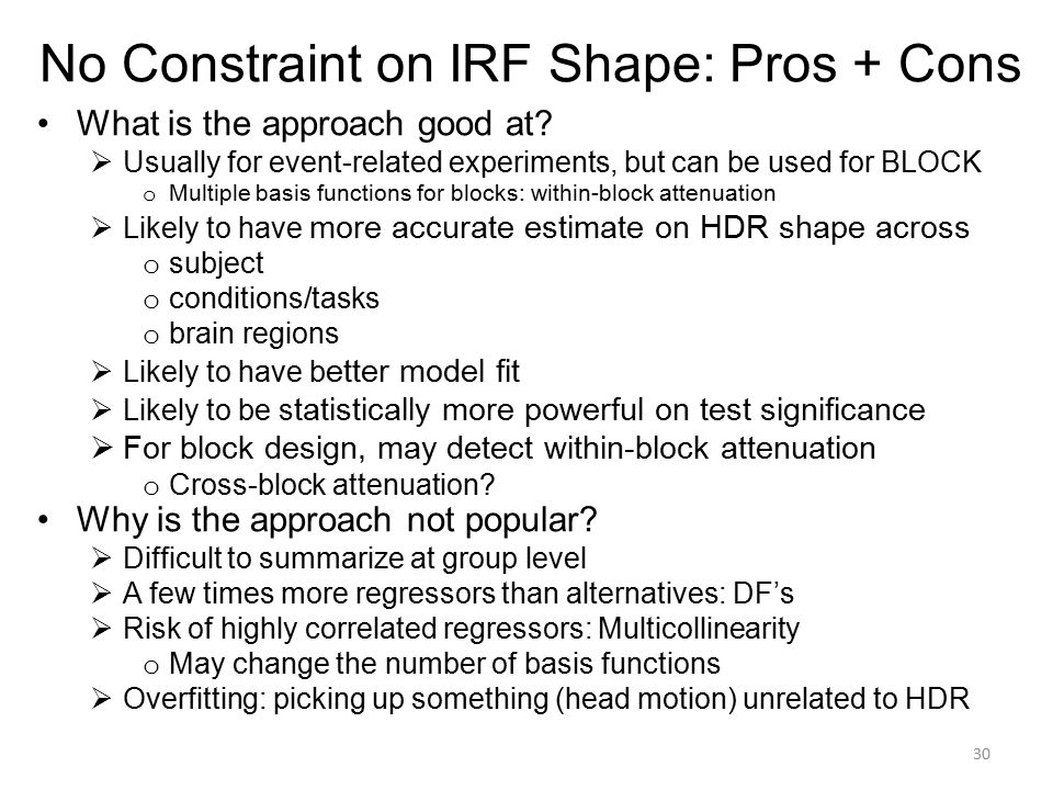 No Constraint on IRF Shape: Pros + Cons