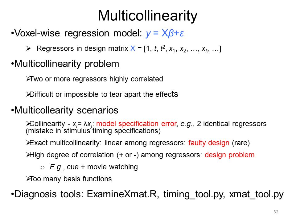 Multicollinearity Voxel-wise regression model: y = Xβ+ε