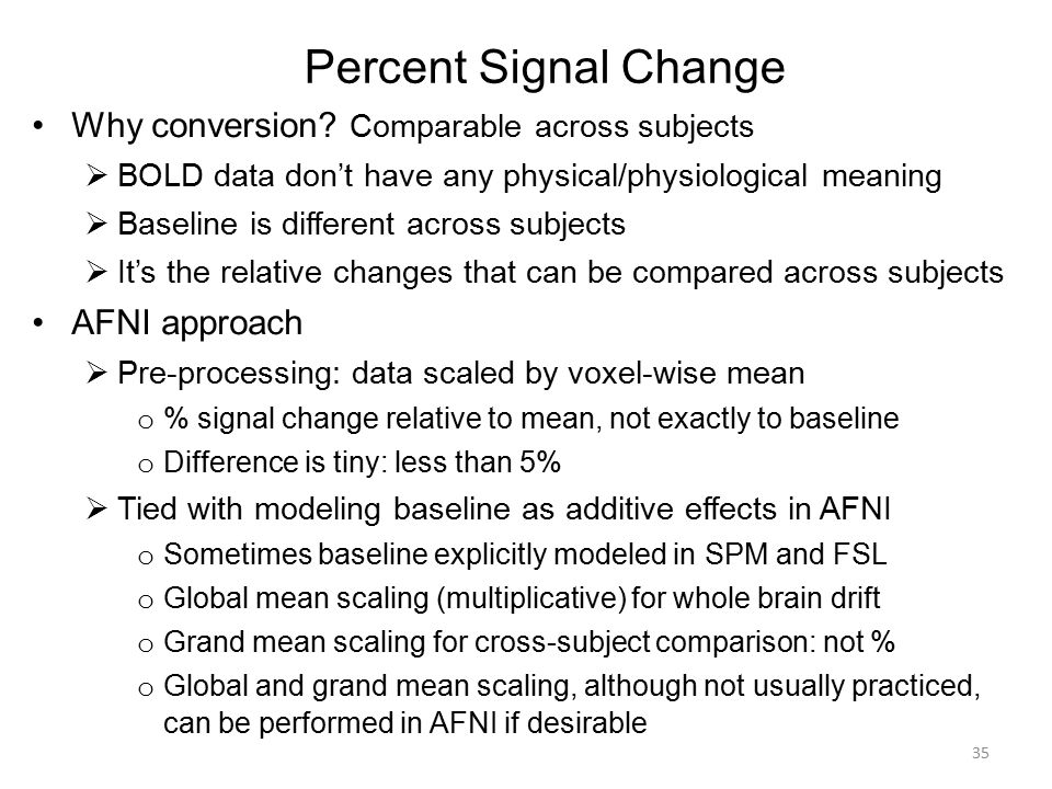 Percent Signal Change Why conversion Comparable across subjects