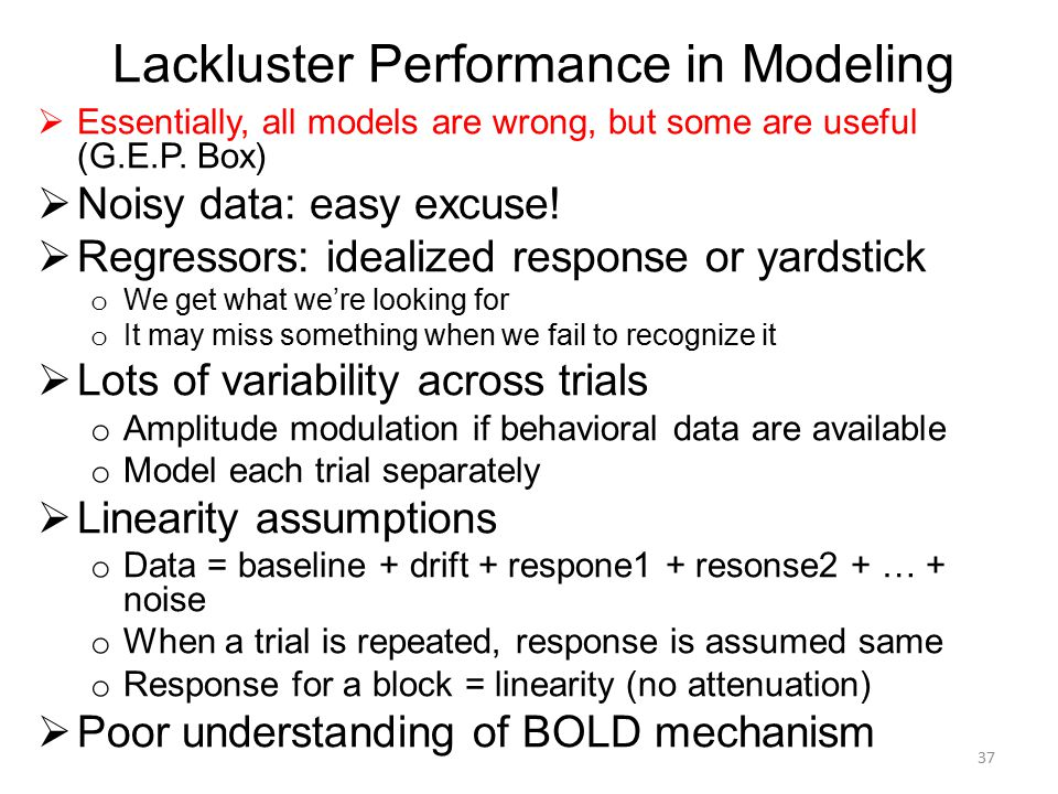 Lackluster Performance in Modeling