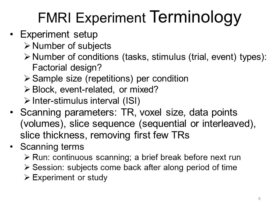 FMRI Experiment Terminology