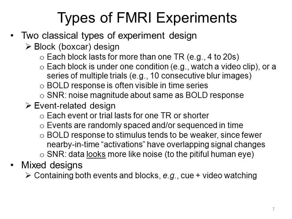 Types of FMRI Experiments