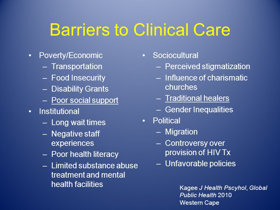 Barriers to Clinical Care