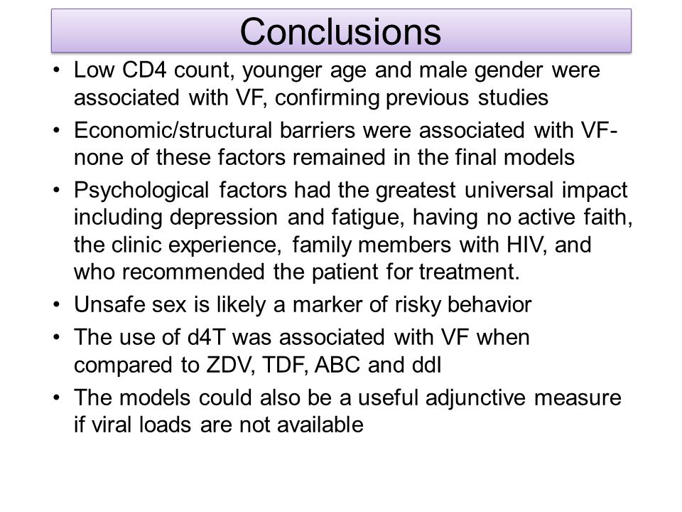 Conclusions Low CD4 count, younger age and male gender were associated with VF, confirming previous studies.