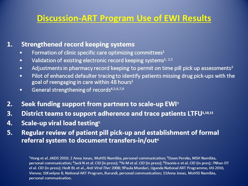 Discussion-ART Program Use of EWI Results