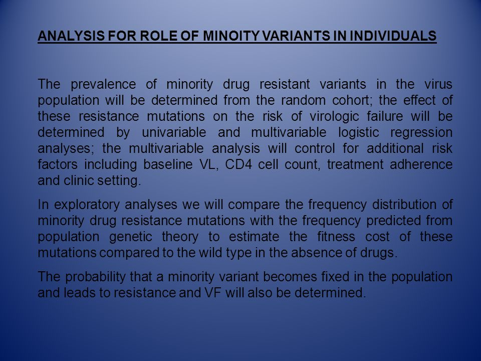 ANALYSIS FOR ROLE OF MINOITY VARIANTS IN INDIVIDUALS