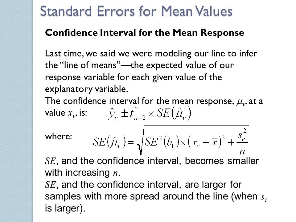 Standard Errors for Mean Values