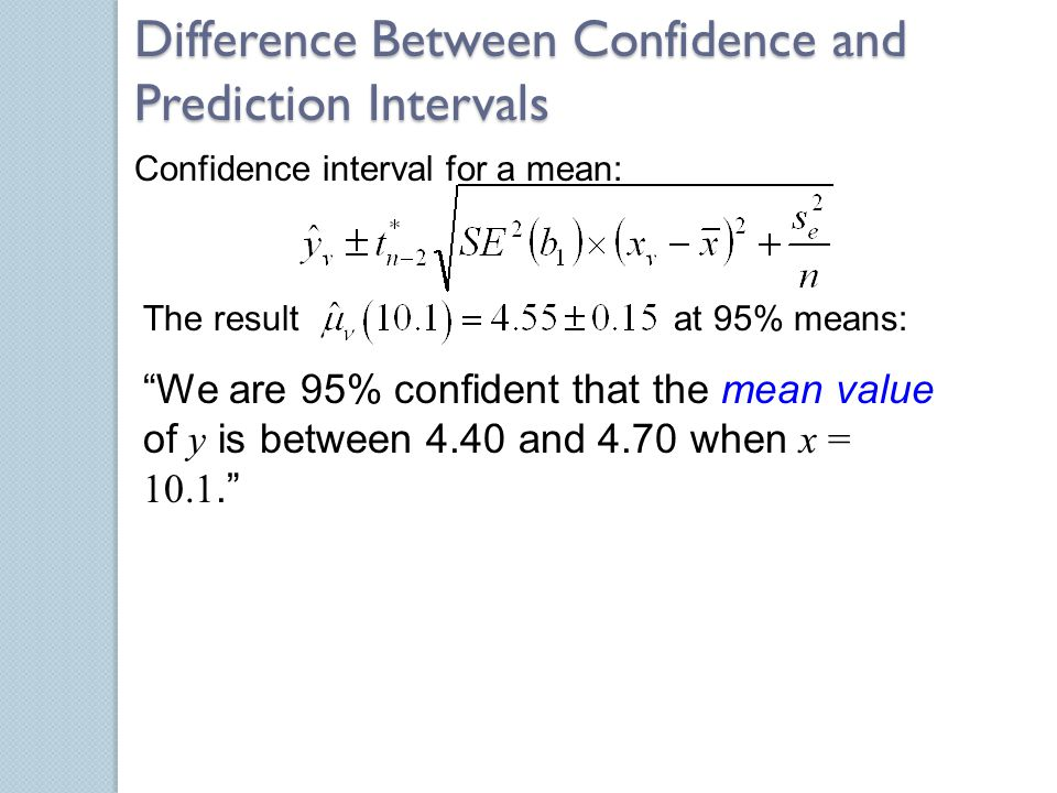 Difference Between Confidence and Prediction Intervals