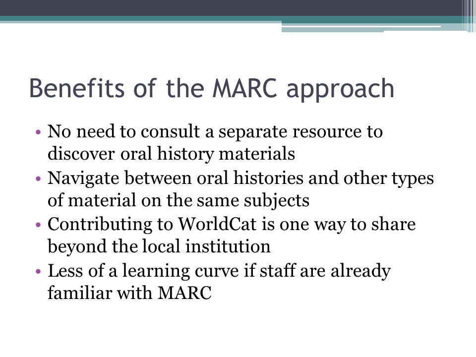Benefits of the MARC approach