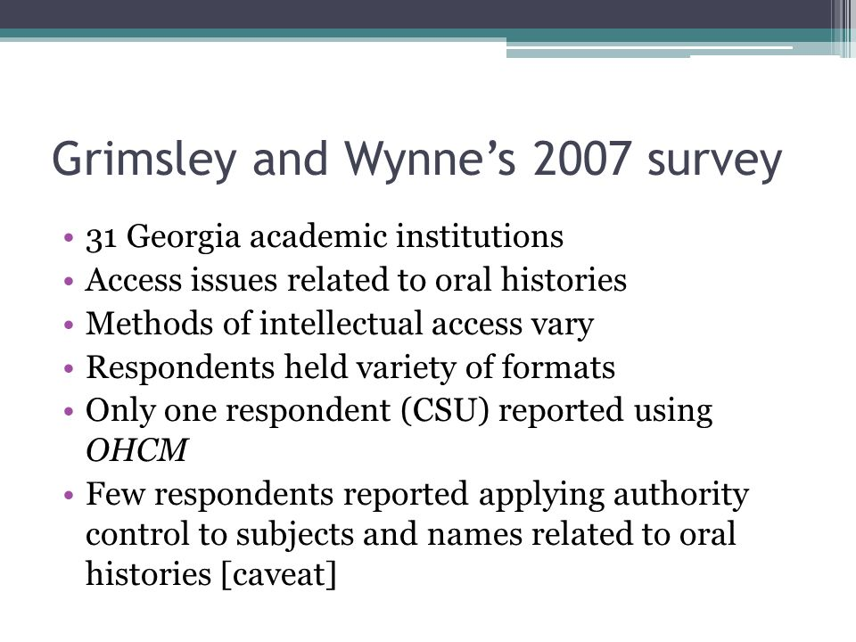 Grimsley and Wynne's 2007 survey