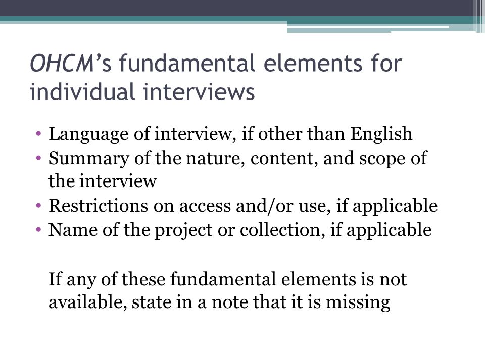 OHCM's fundamental elements for individual interviews