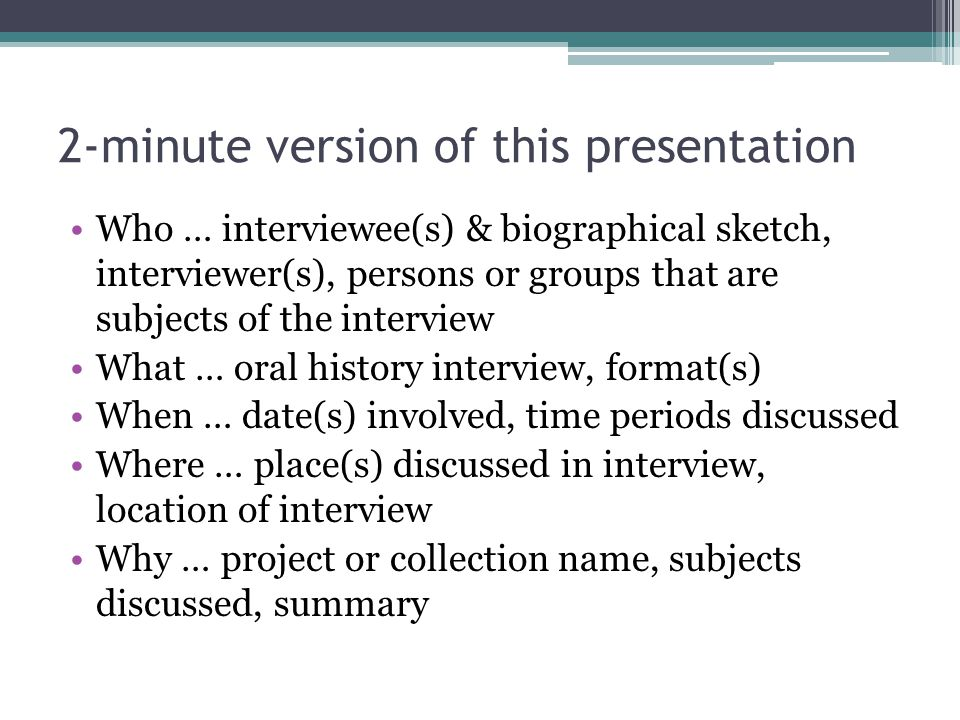 2-minute version of this presentation
