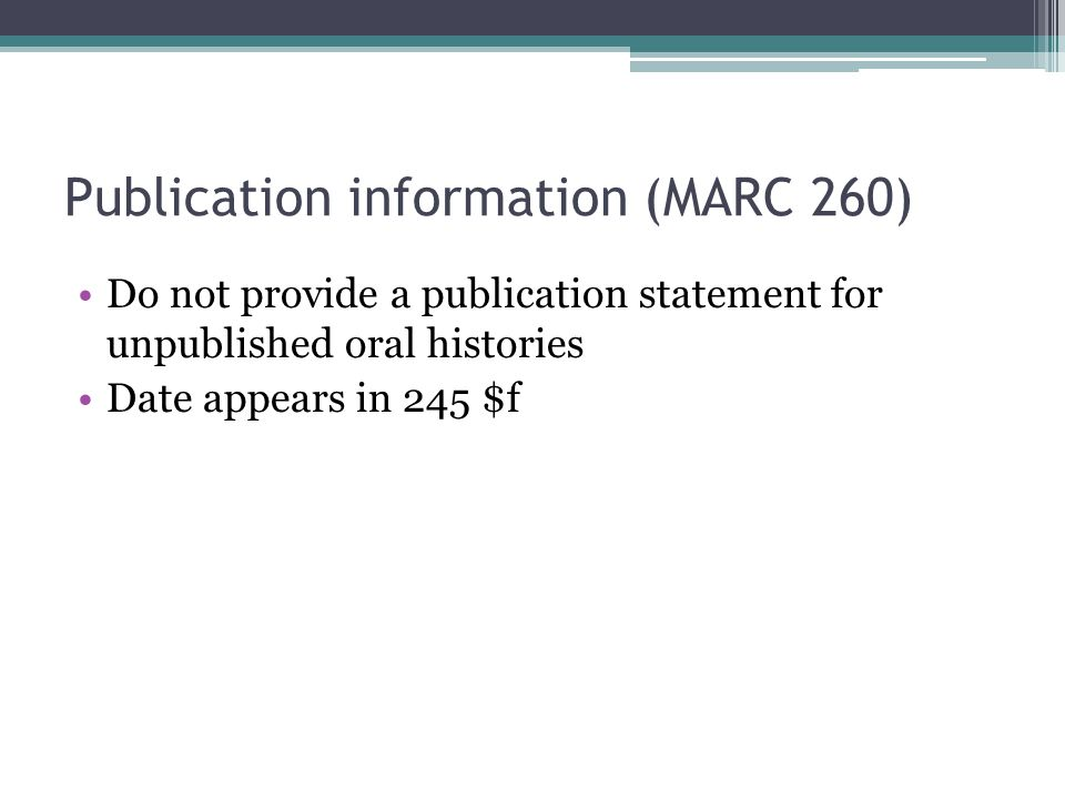 Publication information (MARC 260)