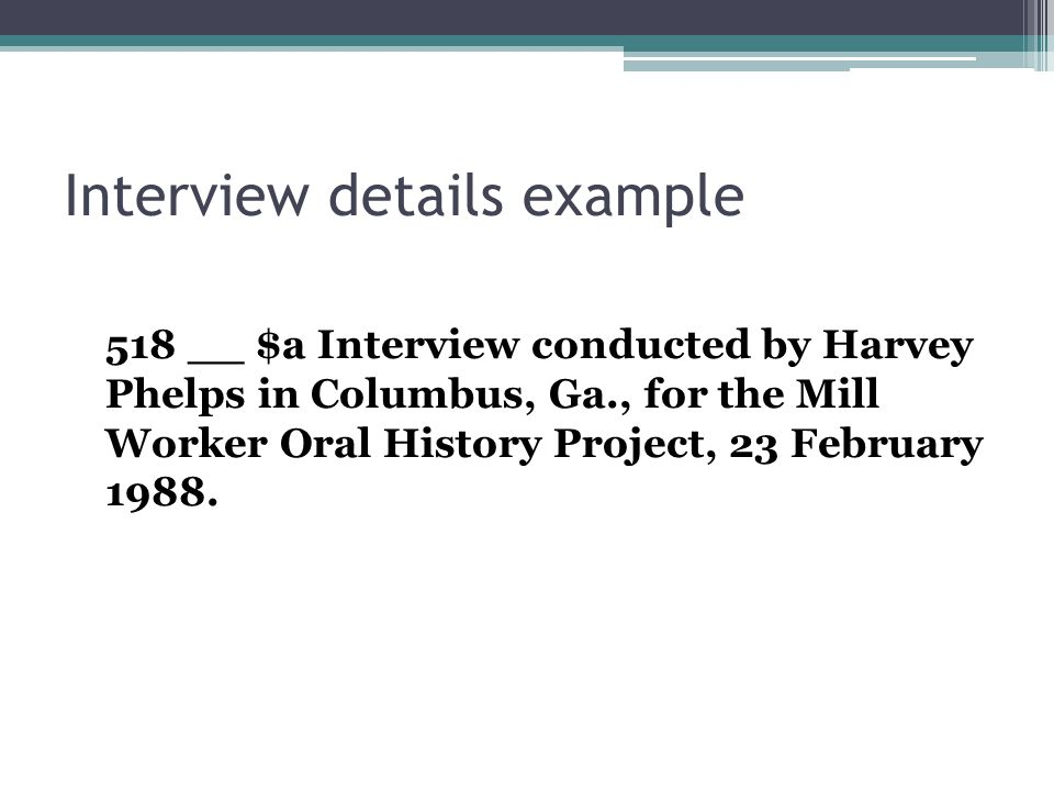 Interview details example