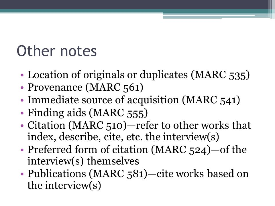 Other notes Location of originals or duplicates (MARC 535)