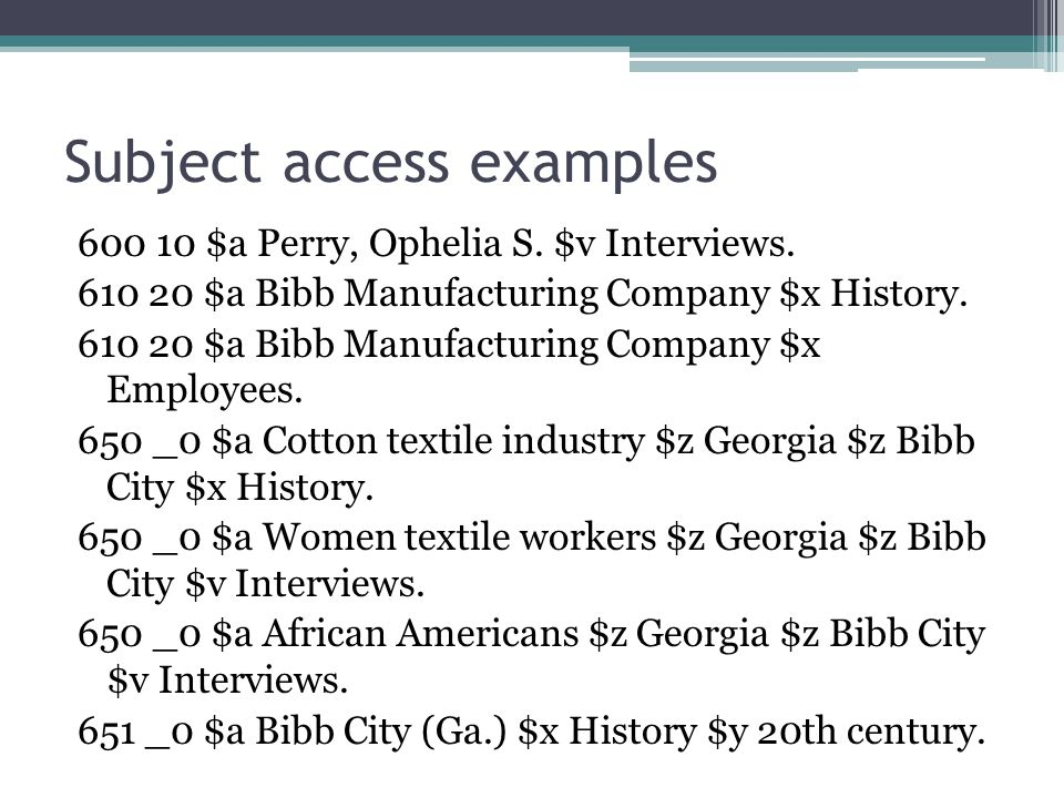 Subject access examples