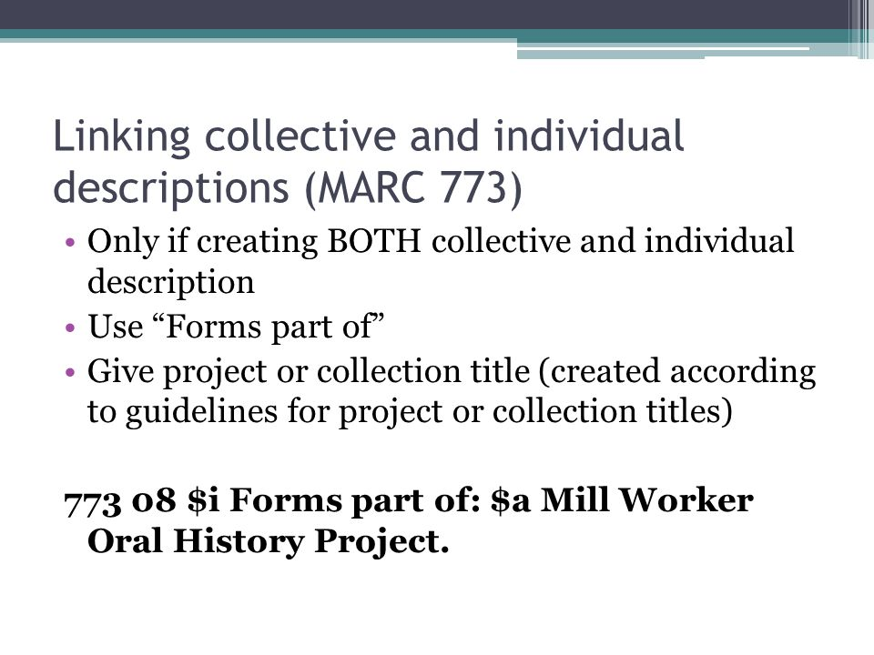 Linking collective and individual descriptions (MARC 773)