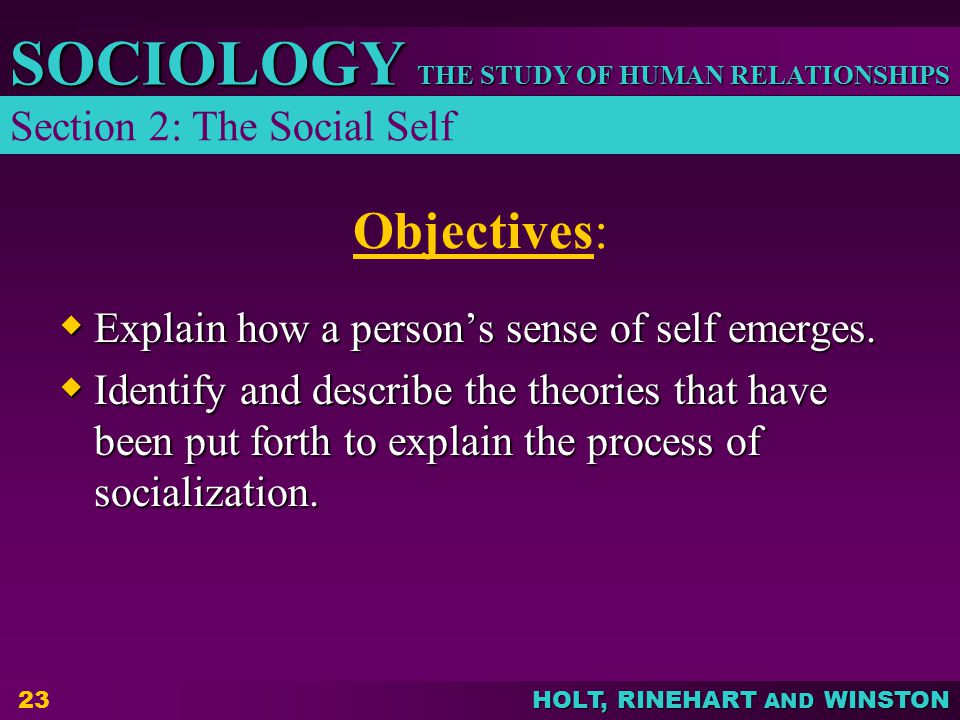 Objectives: Section 2: The Social Self