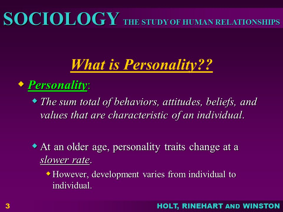 What is Personality Personality: