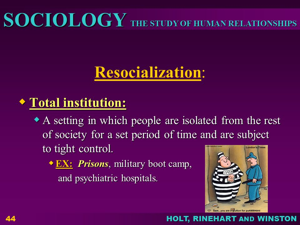 Resocialization: Total institution: