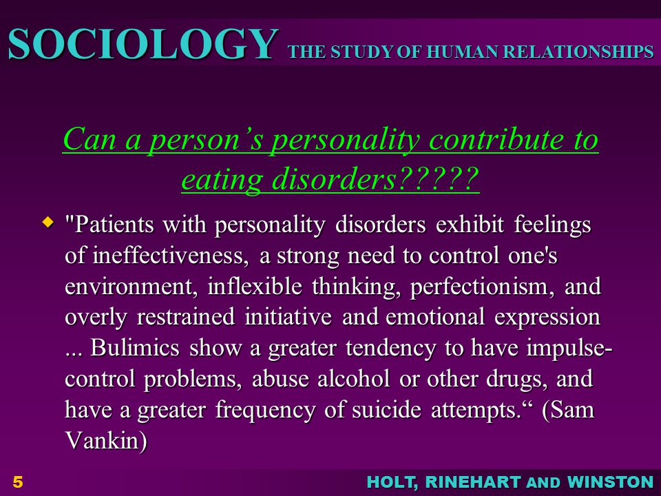 Can a person's personality contribute to eating disorders