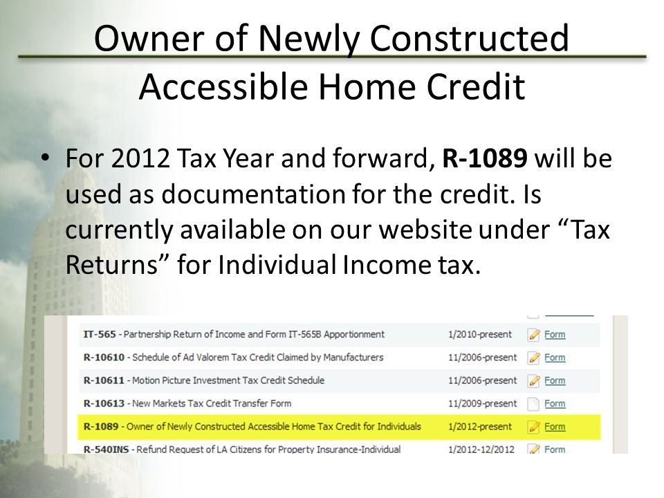 Owner of Newly Constructed Accessible Home Credit