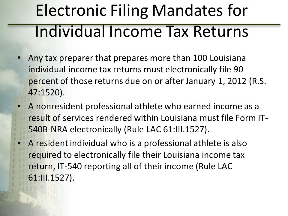 Electronic Filing Mandates for Individual Income Tax Returns