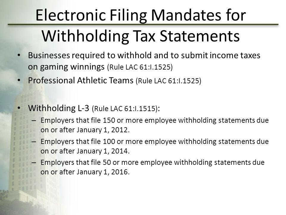 Electronic Filing Mandates for Withholding Tax Statements