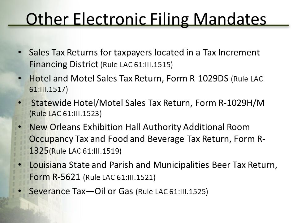 Other Electronic Filing Mandates