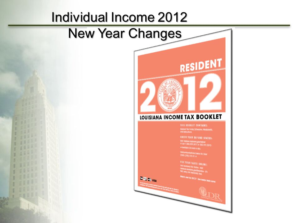 Individual Income 2012 New Year Changes