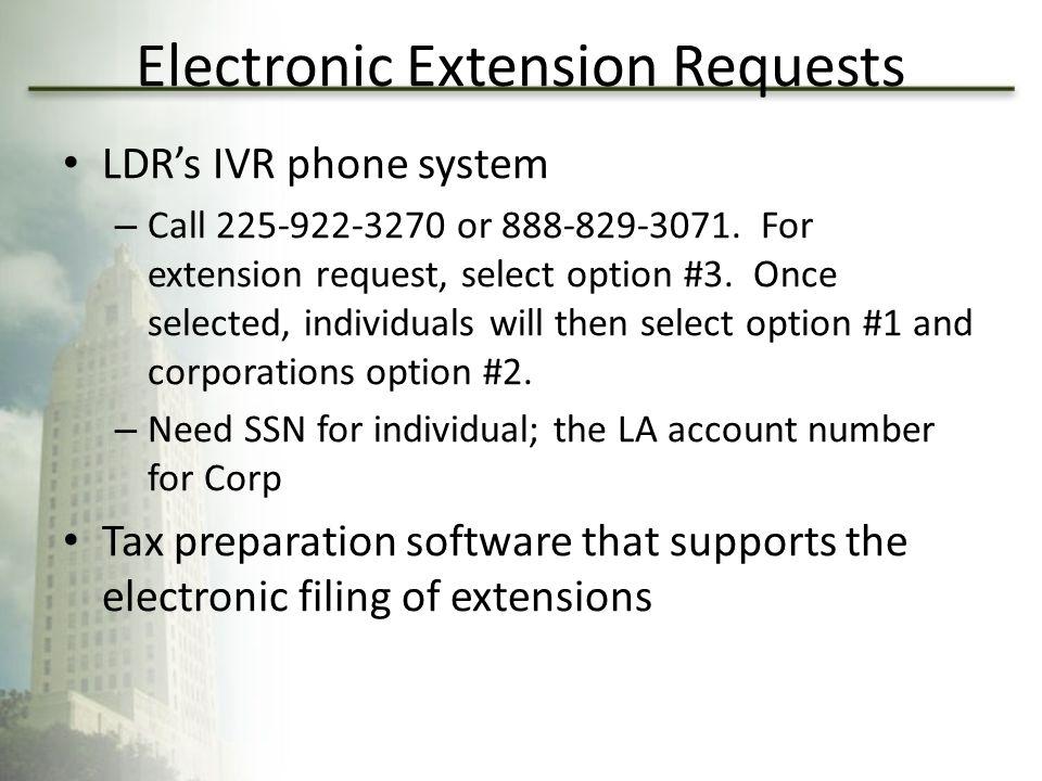Electronic Extension Requests