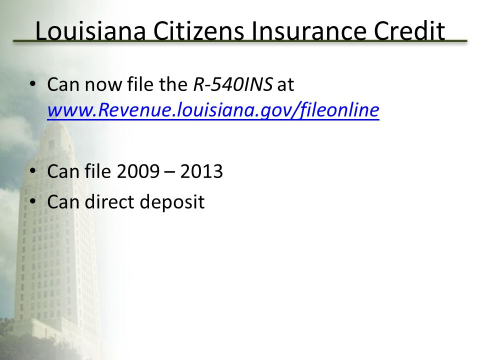 Louisiana Citizens Insurance Credit