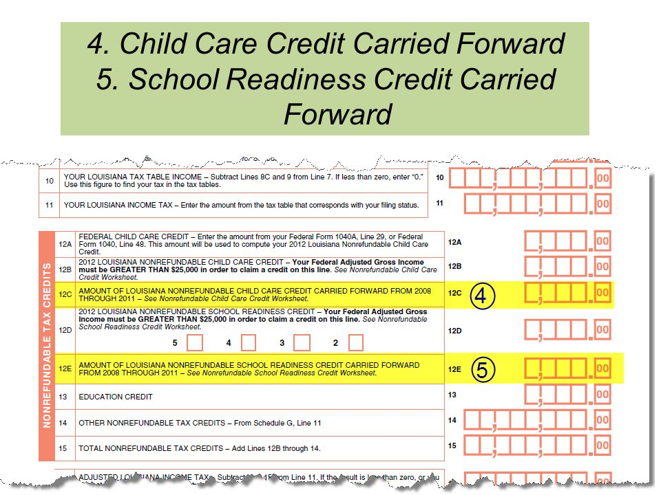 4. Child Care Credit Carried Forward