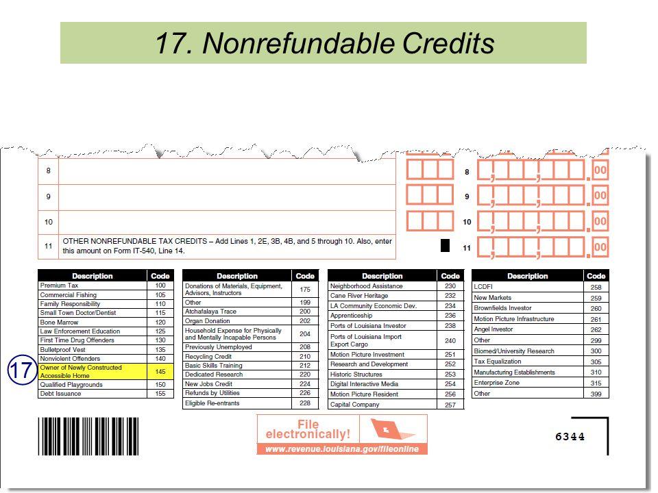 17. Nonrefundable Credits