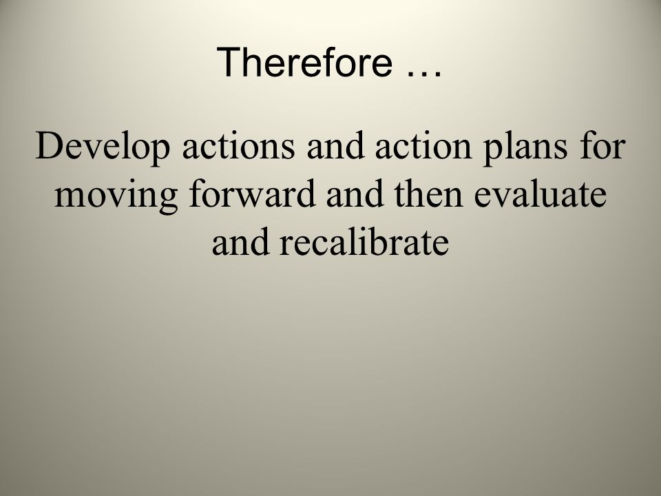 Therefore … Develop actions and action plans for moving forward and then evaluate and recalibrate