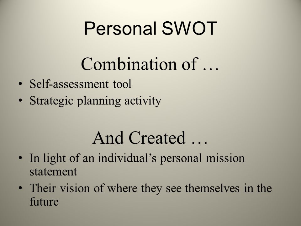 Personal SWOT Combination of … And Created … Self-assessment tool