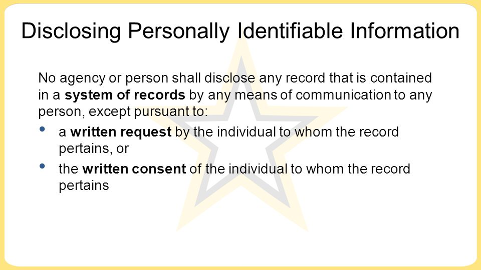 Disclosing Personally Identifiable Information