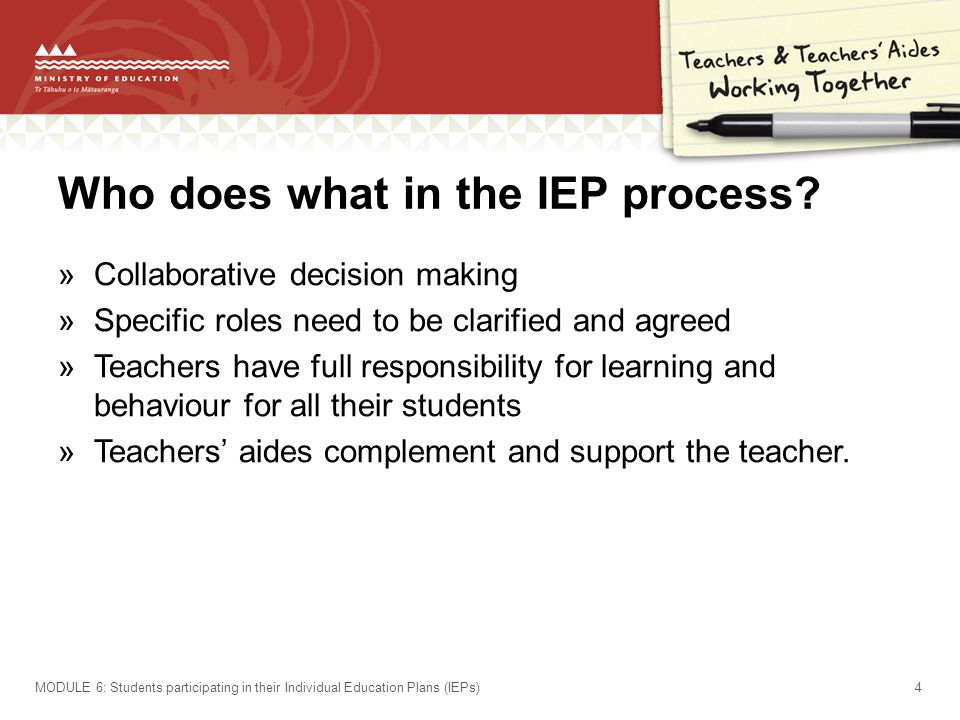 Who does what in the IEP process