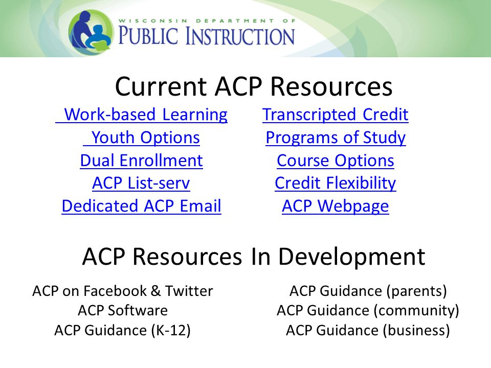 Current ACP Resources ACP Resources In Development Work-based Learning