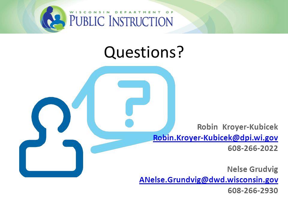 Questions Robin Kroyer-Kubicek Robin.Kroyer-Kubicek@dpi.wi.gov