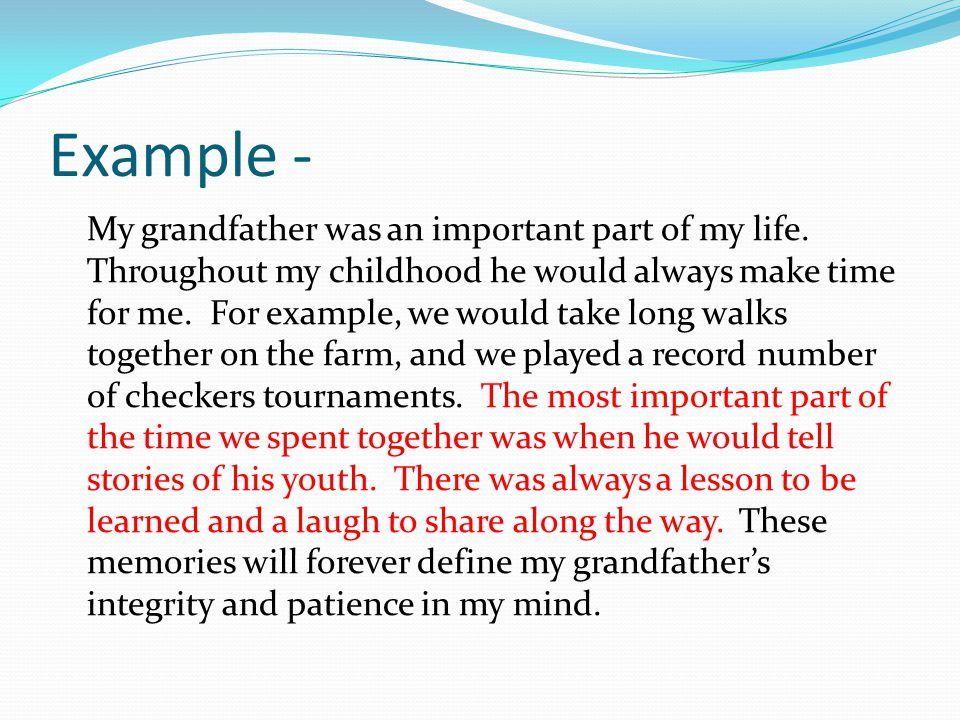 memories of my grandfather essay Online writing resource  we are the only essay site that adds original quality essays daily we have essays, term papers, and book reports on the following topics.