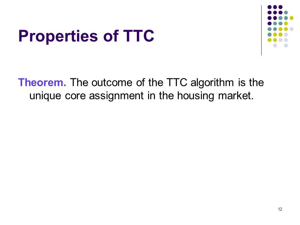 Properties of TTC Theorem.