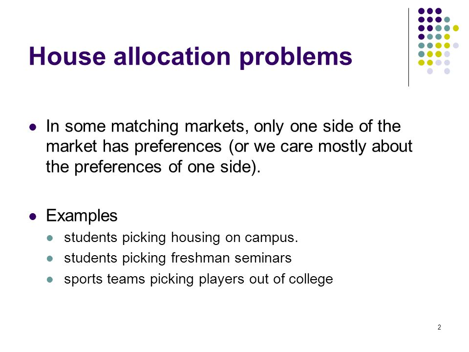 House allocation problems