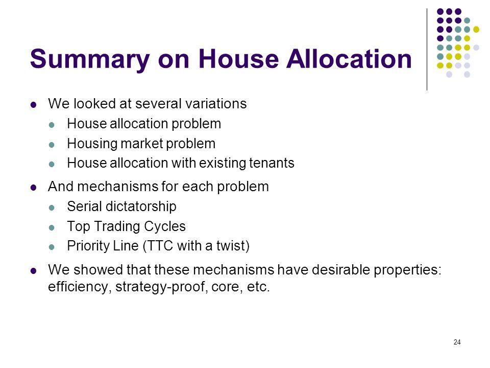 Summary on House Allocation
