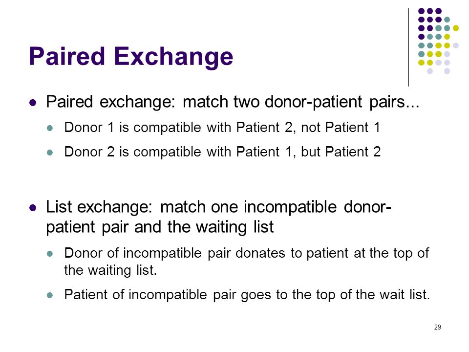 Paired Exchange Paired exchange: match two donor-patient pairs...