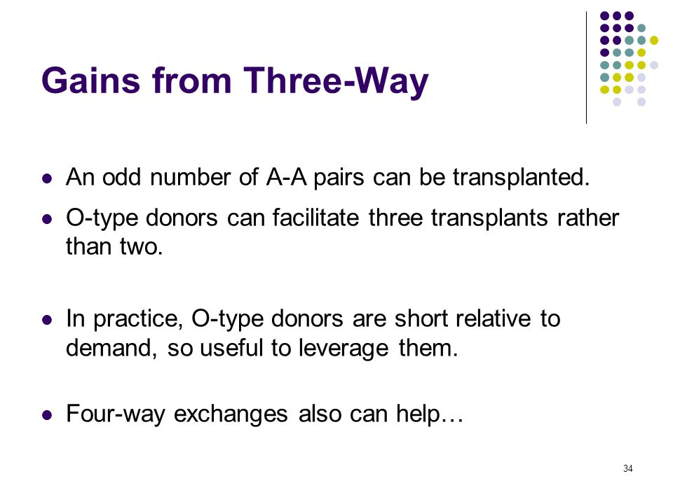 Gains from Three-Way An odd number of A-A pairs can be transplanted.